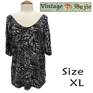 Vintage Suzie Size XL Black White Print Blouse